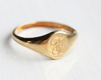 14K Gold Fill Signet Ring - Letter F