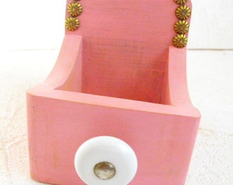 Pink Square Wood Open Box With Vintage Knob and Nail Heads