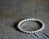 Beaded Sterling silver ring - stackable - Made To Order