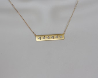 Gold Bar Modern Necklace, Gift for Wife, Summer Trend, Simple Geometry, Abstract, Minimalist, Fashion Jewelry, Gold Charm Necklace, Trending