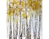 Yellow and Gold Birch Trees - 8 x 10, Modern Contemporary Abstract Art FINE ART PRINT by Shanna