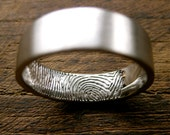 Finger Print Wedding Band in Palladium with Flat Surface and Cool Matte Outer Finish Size 10/6mm