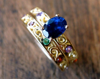 Blue Sapphire Engagement & Wedding Ring in 18K Yellow Gold with Colored Birthstones Emerald Amethyst Garnet Size 9