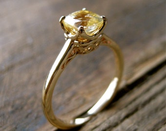 Cushion Cut Yellow Sapphire Engagement Ring in 14K Yellow Gold with Scrolls on Custom Made Basket Size 7