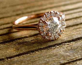 Diamond Engagement Ring in Round Halo-Style Setting in 14K Rose Gold Size 7