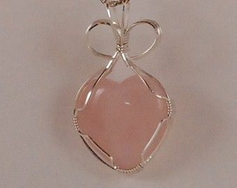 Rose Quartz Heart pendant necklace, sterling silver wire wrapped - P274
