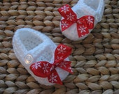 Sweet Little White Baby Mary Janes with Red and White Snowflake Bows 3-6 Months - free shipping included