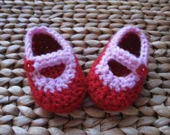 Love Me Tender Red & Pink Heart Valentine Baby Mary Janes 3-6 Months - Free Shipping Included!