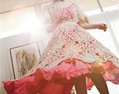 Bohemian Style Cotton Irish Crochet lace Dress tunic Gold and cream twist thread Fits XS to XXL