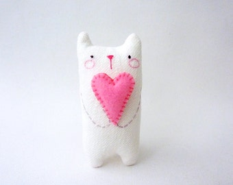 Small white stuffed cat plush with heart cat art doll desk toy decor gift for cat lover girlfriend colleagues gift stocking stuffer