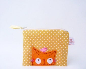 Orange Cat Pouch, Cat Zipper Pouch, Cat Coin Purse, Cat Wallet, Coin Purse, Cute Cat Purse, Change Purse, Small Pouch