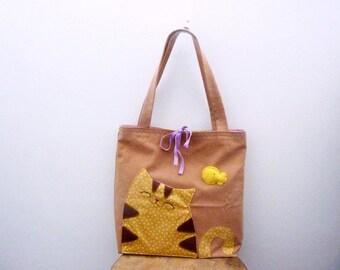 Cat Bag, Tote Bag, Cat HandBag, Shoulder Bag, Cat Tote Bag, Teens, Canvas Tote Bag - Cat Lover Gift