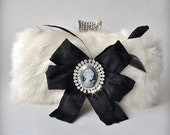 CLUTCH, Bag, Purse, Bridal Real Rabbit Fur, Rhinestones Cameo, Leather lined, White Black, Chain 2014 TianaCHE