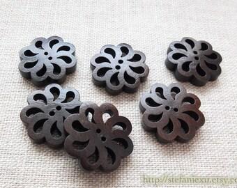 6PCS Wooden Buttons, Painted Color - Dark Color Retro Pierced Flower Floal Shape Buttons (6PCS, D=2cm)