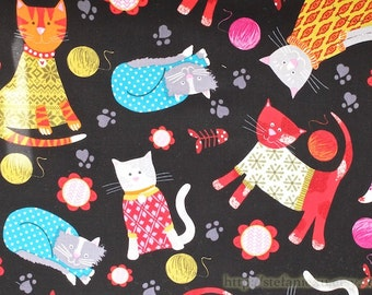 SALE Clearance 1 Yard Colourful Wearing Nordic Floral Pattern Sweater Cats Kitty Playing Clew- Korea Thick High Quality Cotton Fabric