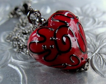 Red Heart Necklace, Lampwork Heart Pendant, Valentine's Day Gift