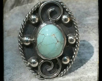 Vintage Mexican Turquoise and Sterling Silver Oval Ring Size 7