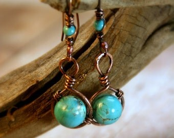 Rustic Hammered Copper and Turquoise Dangle Earrings