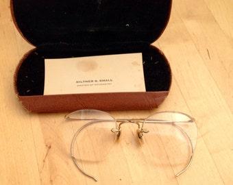 1940s Bausch & Lomb Ful Vue Gold Metal Partial Rim Eyeglasses