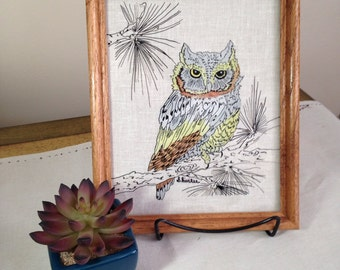 Vintage Owl Drawing on Glass Framed Picture Reverse