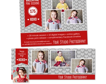 Valentine's Day Mini Session and Facebook Timeline Template Matching Set - INSTANT DOWNLOAD