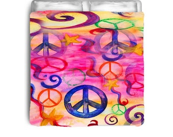 Peace sign comforter from my art