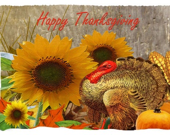 Happy Thanksgiving Holiday Fleece Throw Blanket from my original art