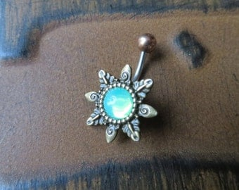Belly Button Ring, Belly Button Jewelry Mint Green Opal Starburst Belly Ring Navel Piercing Emerald Bronze Sun Stud Bar Barbell Star Burst