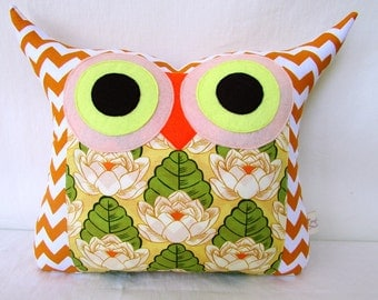 Large sizeOrange/ yellow/ green /room decor  /Amy Butler fabric /owl pillow/Ready to ship/express shipping
