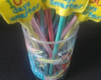 100 Days Smarter Pencil Toppers - 100 Days Celebration- Non Food Treat - Pencil Included - Classroom Party - allergy classroom
