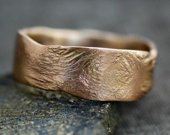 Reticulated Wide-Band 14k Recycled Gold Ring- Made to Order Wedding Band