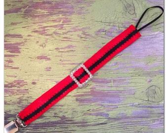 Santa belt pacifier clip