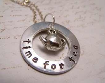 Teapot Necklace...Time for Tea...Tea Lovers Necklace. Floating Necklace
