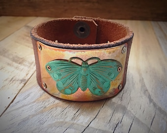Vintage Butterfly Upcycled Leather Cuff