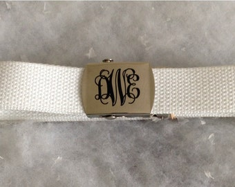 Custom Monogram Military Style Belt,  Assorted Sizes