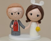 Topper for the month of June-Superhero plus Mouse Ears or Clay Skirt Kokeshi Cake Topper - Wooden Wedding Cake Topper