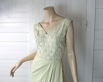 May Queen Dress- 50s Bombshell Formal Dress in Pale Green- 1950s- Tulip Skirt- Pin Up- Sequins & Beads