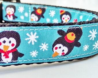 Happy Penguins - Dog Collar / Handmade / Adjustable / Pet Lover / Gift Idea / Holiday / Pet Accessories