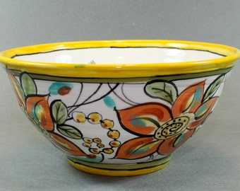Handmade Pottery Bowl, Yellow, orange, unique handpainted design, colorful flowers. SKU1410-5