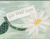 Get Well Soon Quilted Fabric Postcard