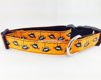 Halloween Dog Collar, Spiders Dog Collar 1 inch wide, adjustable, quick release, metal buckle, martingale, chain, hybrid, nylon