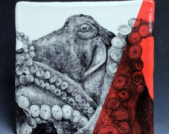 Hand Painted Giant Pacific Octopus Portrait Wall Tile Coral Red