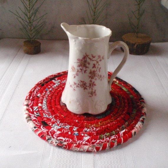 Bohemian Coiled Red Mat, Trivet or Hot Pad - Small Round - Handmade by Me