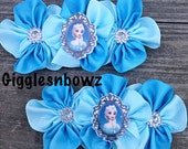 Set of 2- BEAuTiFuL Embellished BLuE and Aqua GRoSGRaiN CLuSTeR Flowers- Princess Inspired 4 inch Size