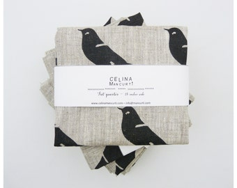 Linen Fat Quarter - Black bird hand printed by celina mancurti - Free Shipping to USA