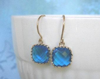 Royal Blue Earrings, Blue Earrings, Petite Earrings, Gold Earrings, Simple, Everyday Jewelry