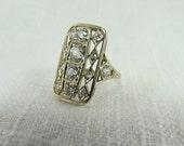 Circa 1930 Art Deco Filigree Diamond Ring