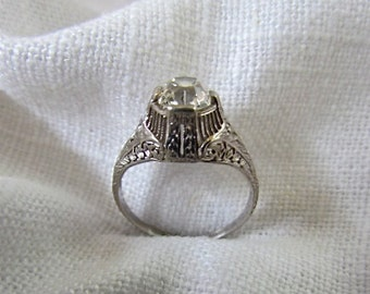 Circa 1900 .85 Carat Mine Cut Diamond and Platinum Engagement Ring.