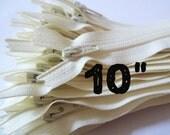 10 Inch vanilla YKK zippers, 10 pcs, ivory, off white, YKK color 121, dress, skirt, pouch, all purpose zippers