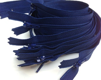 Navy YKK zippers, 10 pcs, choose size, 4, 5, 6, 7, 8, 9, 10, 12, 14, 16, 18, 20 inches, all purpose dress zips, YKK color 919